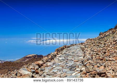 The stone walkway arond the Teide volcano peak, Tenerife, Spain.