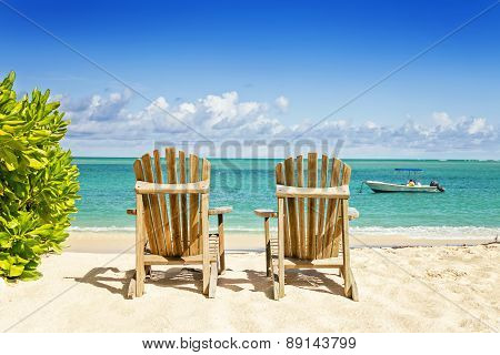 Two Beach Chairs On Tropical Shore, Horisontal Composition