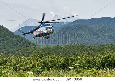 Helicopter With Tourists Flying In The Forest. Kamchatka Peninsula, Far East, Russia
