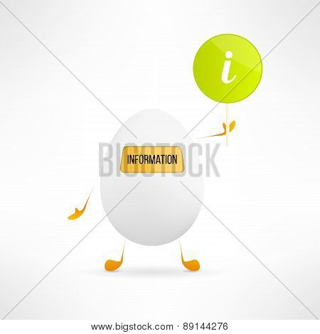 Happy cartoon egg creature with information sign. Cute assistance robot with indicator board. Funny