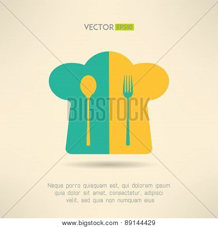 Chief cook hat icon with fork and spoon in simple design. Cooking emblem. Vector illustration.