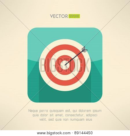 Round target board with arrow icon. Success and accuracy concept. Vector illustration.