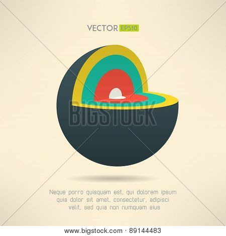 Sphere section icon in colorful design. Circle layers infographics element. Vector illustration