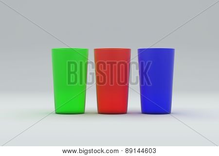 Colored plastic cups