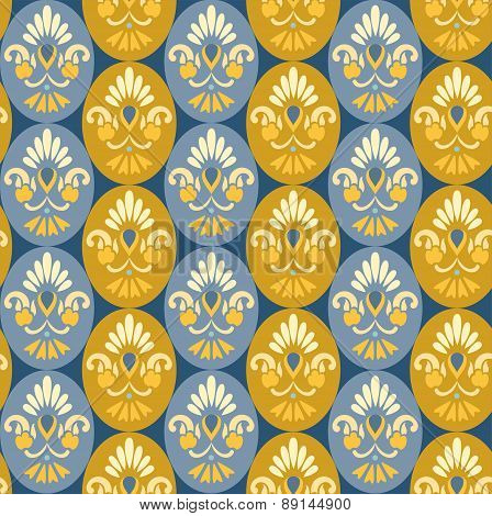 Floral Pattern In Ovals, Blue...