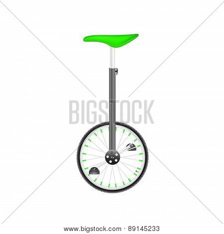Circus bike in black and silver design with green seat