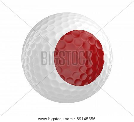 Golf ball 3D render with flag of Japan, isolated on white