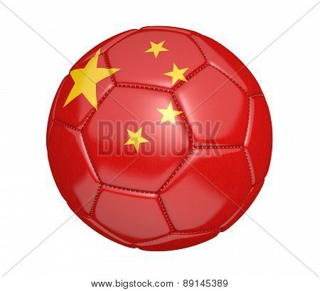 Soccer ball, or football, with the country flag of China