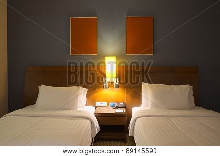 Empty twin beds room