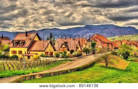 View Of Bergheim Near The Vosges - Alsace, France