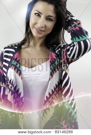 beautiful woman wearing a cardigan