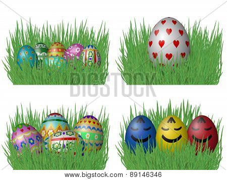 Easter Eggs On Grass Isolated On White Background