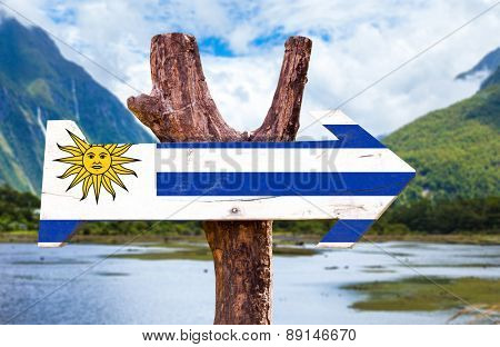 Uruguay Flag wooden sign with countryside background