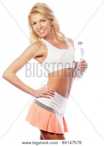sport, excercise and healthcare - sporty blond woman with water bottle
