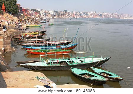 View Of Varanasi With Boats On Sacred Ganga River