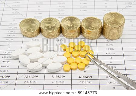 Holding Forceps Pinch Pill With Step Pile Of Gold Coins