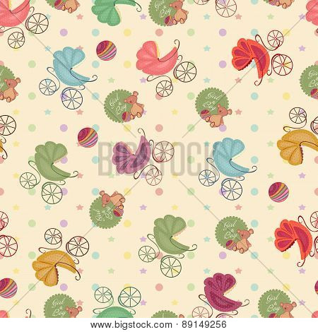 Color Seamless Children Background Of Colored Stars, Circles, Different Strollers, Bear . Baby Seaml