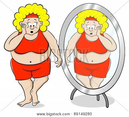 Overweight Woman Is Shocked In Front Of A Mirror