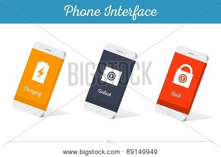 Interface Vector 3D Smartphone Models With Media Symbols