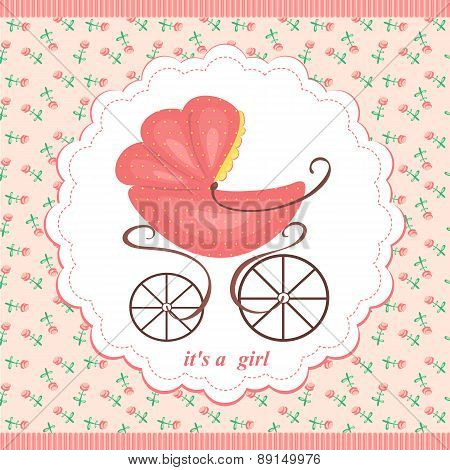 Baby Stroller In Abstract Baby Background In Pink Flowers. Pink Stroller For Girls.