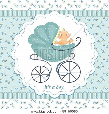 A Little Boy In A Stroller On An Abstract Background In Child Blue Flowers. Blue Stroller With The B
