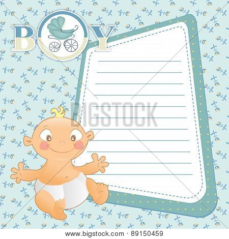Baby With Frame For Your Text On Seamless Blue Background With Flowers.
