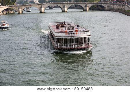 Boat tour on Seine river in Paris France