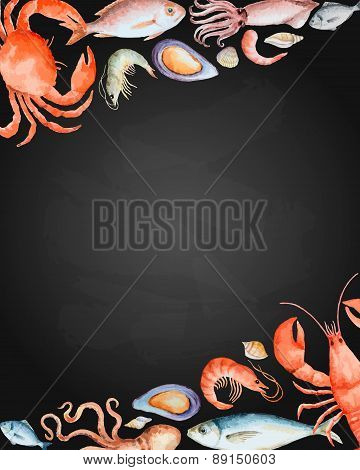 Watercolor Set Of Seafood