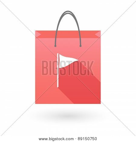 Red Shopping Bag Icon With A Golf Flag