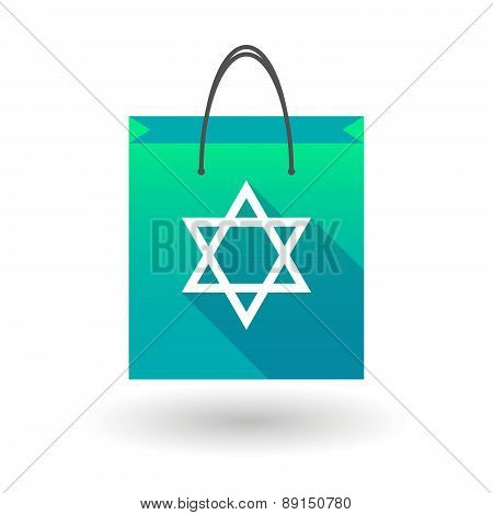 Blue Shopping Bag Icon With A David Star