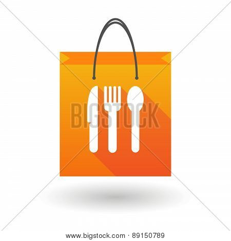 Orange Shopping Bag Icon With Cuttlery