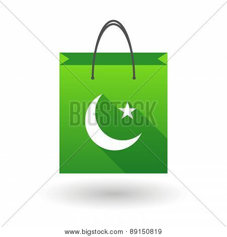 Green Shopping Bag Icon With An Islam Sign
