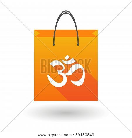 Orange Shopping Bag Icon With An Om Sign