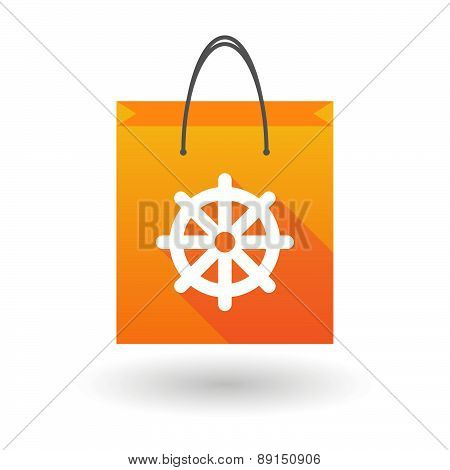 Orange Shopping Bag Icon With A Dharma Chakra Sign