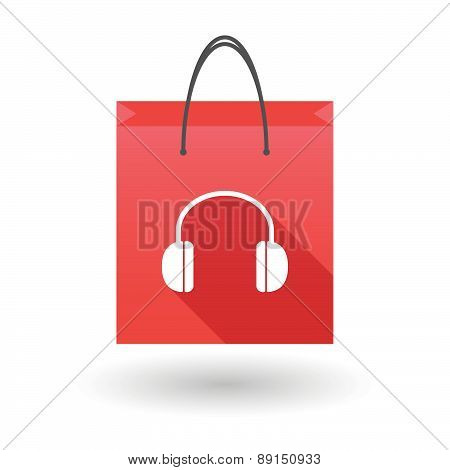 Red Shopping Bag Icon With A Earphones