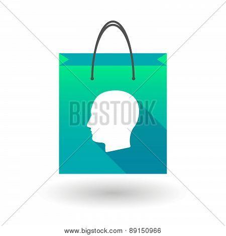 Blue Shopping Bag Icon With A Man Head