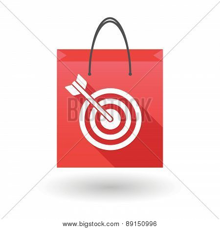 Red Shopping Bag Icon With A Dart Board