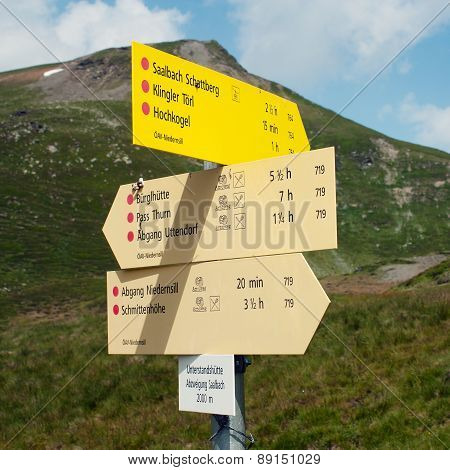 Signpost Of Hiking Trails In The Alp