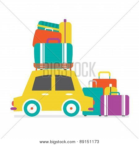 Car's Side View With Heap Of Luggages.