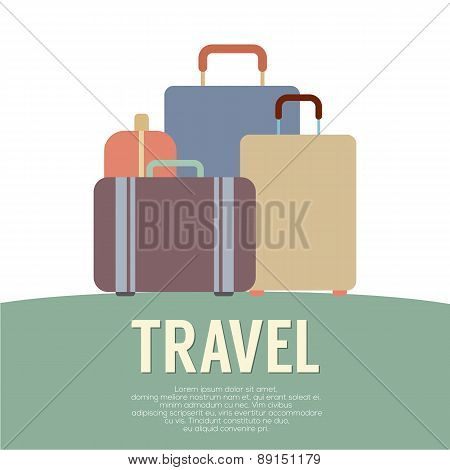Many Luggage Travel Concept Vintage Style.