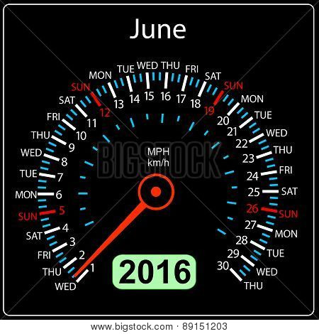 2016 year calendar speedometer car. June. Vector illustration.