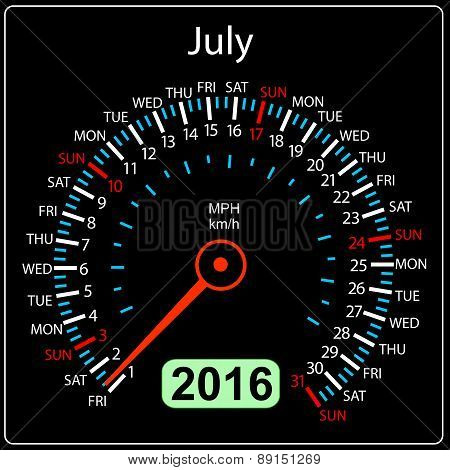 2016 year calendar speedometer car. July. Vector illustration.