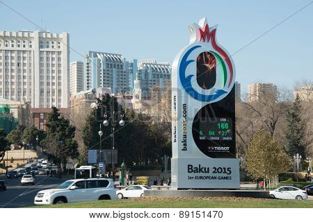 Baku - DECEMBER 28, 2014: 2015 European Games countdown clock on December 28 in Azerbaijan, Baku. Baku will host first European Games in 2015