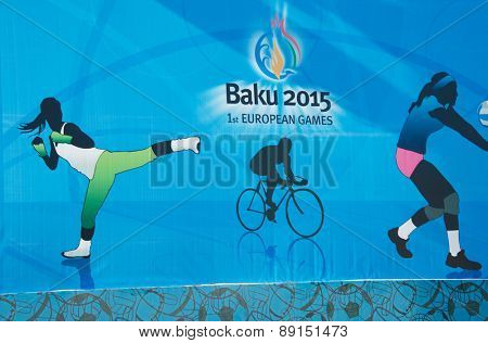 Baku - MARCH 21, 2015: 2015 European Games posters on March 21 in Azerbaijan, Baku. Baku will host first European Games in 2015