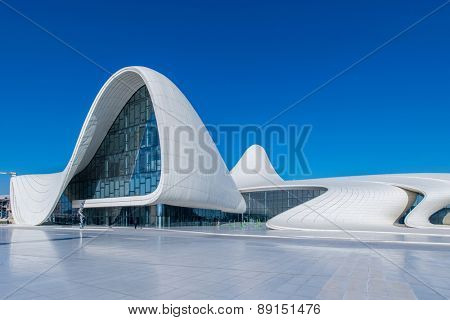 BAKU- DECEMBER 27: Heydar Aliyev Center on December 27, 2014 in Baku, Azerbaijan. Heydar Aliyev Center won the Design Museum's Designs of the Year Award in 2014