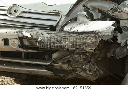 Car crash image with damage to front left side