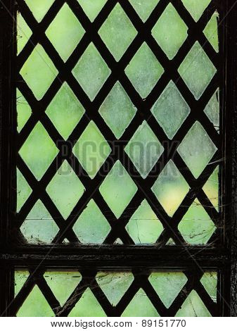 Green Stained Glass Window With Regular Block Pattern