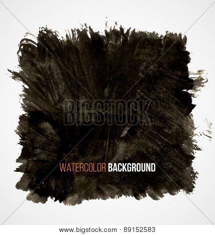 Abstract black hand drawn grunge watercolor vintage texture background