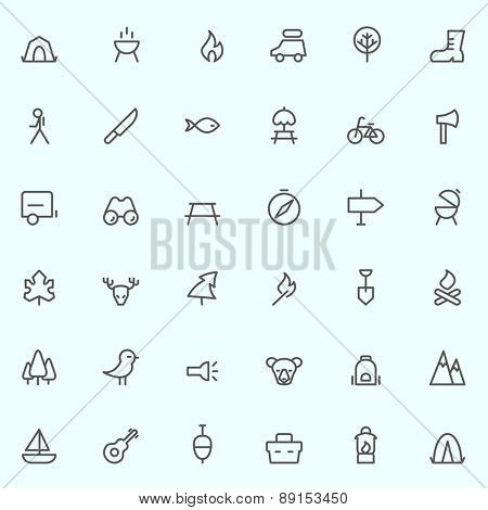 camping icons, simple and thin line design