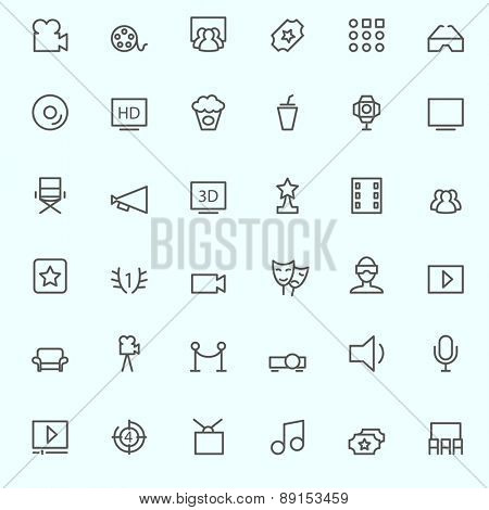 Cinema icons, simple and thin line design